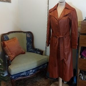 Jackets & Blazers - Genuine Leather Brown Trenchcoat